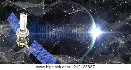 Vector image of3d modern solar satellite against satellite view of back lit earth