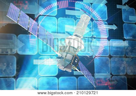 3d illustration of blue modern solar satellite against blue squares and arrows on black background