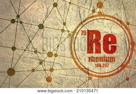Rhenium chemical element. Sign with atomic number and atomic weight. Chemical element of periodic table. Molecule And Communication Background. Connected lines with dots. Distress grunge texture
