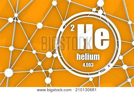 Hellium chemical element. Sign with atomic number and atomic weight. Chemical element of periodic table. Molecule And Communication Background. Connected lines with dots. 3D rendering