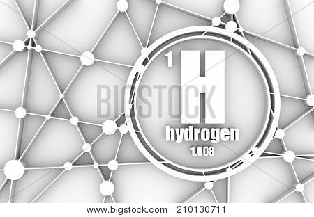 Hydrogen chemical element. Sign with atomic number and atomic weight. Chemical element of periodic table. Molecule And Communication Background. Connected lines with dots. 3D rendering