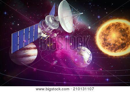 3d illustration of blue solar satellite against composite image of solar system against white background