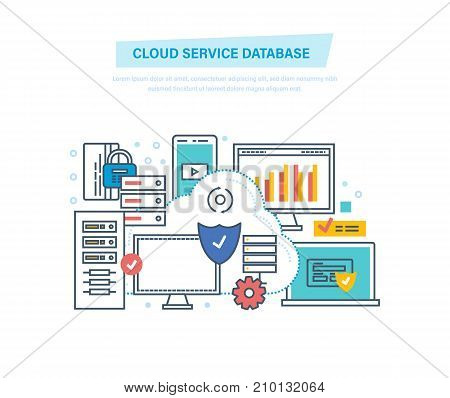 Cloud service database. Computing, network. Data storage device, media server, database security, backups, archives, file storage hosting, media. Illustration thin line design of vector doodles