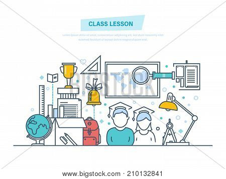 Class lesson conept. System education and training. Learning, school and university lesson, knowledge, science, teaching, skills. Illustration thin line design of vector doodles