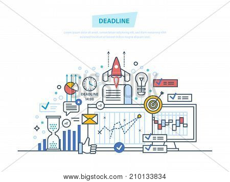 Deadline, project and time management, process control. Task management, statistic. Time control, limitation, business planning. Project plan schedule. Illustration thin line design of vector doodles.