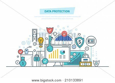 Data protection, internet security, antivirus software and services, privacy. Safe confidential information. Security deposits, payments, finance. Illustration thin line design of vector doodles.