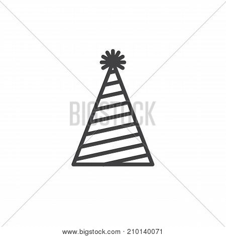 Party, magic hat line icon, outline vector sign, linear style pictogram isolated on white. Symbol, logo illustration. Editable stroke