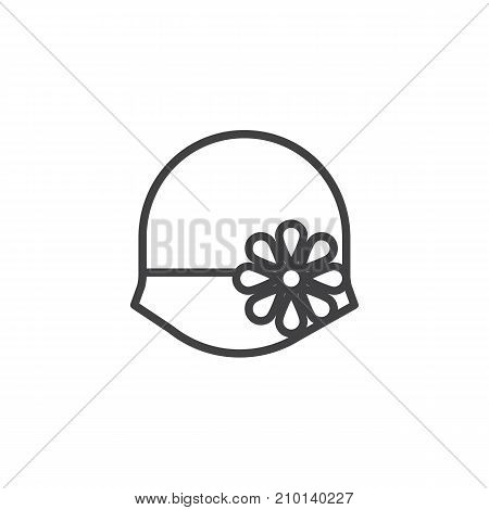 Women's hat bowler line icon, outline vector sign, linear style pictogram isolated on white. Symbol, logo illustration. Editable stroke