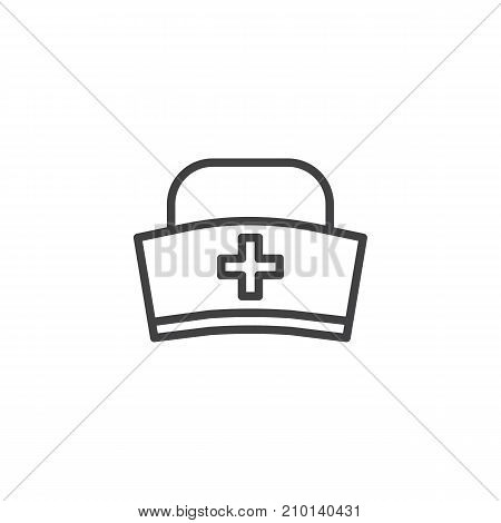 Medical hat line icon, outline vector sign, linear style pictogram isolated on white. Symbol, logo illustration. Editable stroke