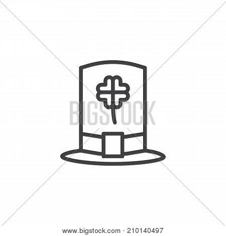 Leprechaun hat line icon, outline vector sign, linear style pictogram isolated on white. Celebration symbol, logo illustration. Editable stroke