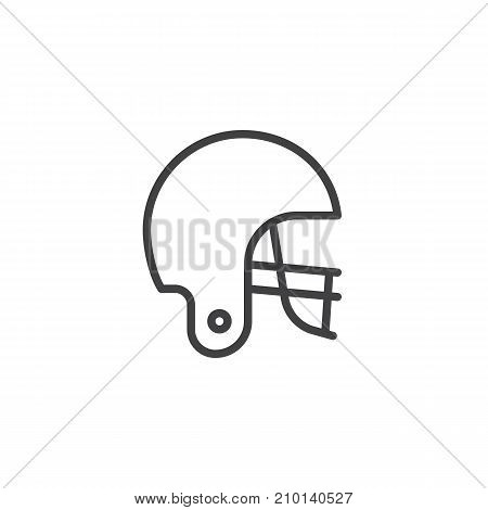 American football helmet line icon, outline vector sign, linear style pictogram isolated on white. Symbol, logo illustration. Editable stroke