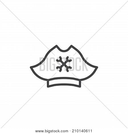 Pirate hat line icon, outline vector sign, linear style pictogram isolated on white. Symbol, logo illustration. Editable stroke