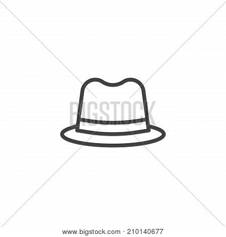 Detective hat line icon, outline vector sign, linear style pictogram isolated on white. Symbol, logo illustration. Editable stroke