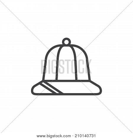 Explorer hat line icon, outline vector sign, linear style pictogram isolated on white. Adventure symbol, logo illustration. Editable stroke
