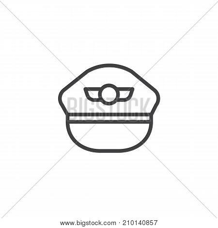 Pilot hat line icon, outline vector sign, linear style pictogram isolated on white. Symbol, logo illustration. Editable stroke
