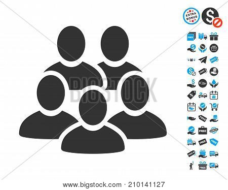 Men Collective pictograph with free bonus clip art. Vector illustration style is flat iconic symbols.
