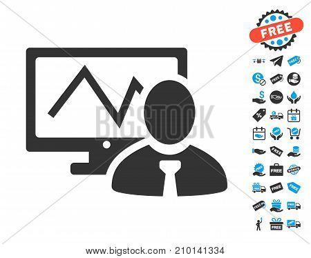 Online Trader icon with free bonus images. Vector illustration style is flat iconic symbols.