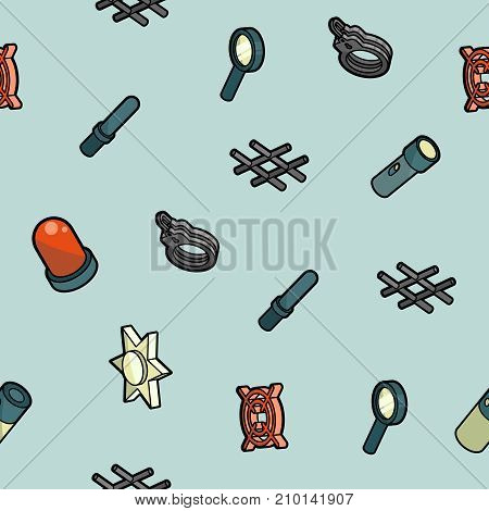 Police color outline isometric pattern. Vector illustration for you design, web and mobile applications