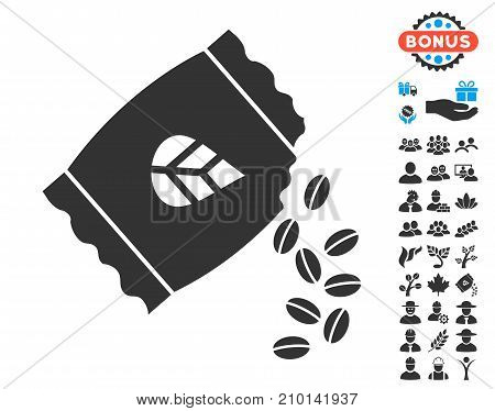 Sow Seed Pack pictograph with free bonus clip art. Vector illustration style is flat iconic symbols.