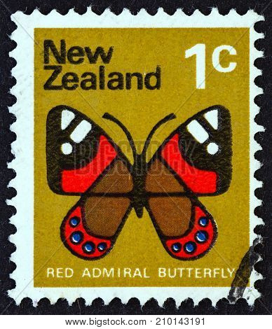 NEW ZEALAND - CIRCA 1970: A stamp printed in New Zealand shows Red Admiral butterfly (Vanessa gonerilla), circa 1970.