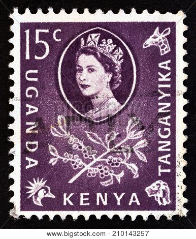 KENYA UGANDA TANGANYIKA - CIRCA 1960: A stamp printed in Kenya Uganda Tanganyika shows Queen Elizabeth II and Coffee (Coffea arabica), circa 1960.