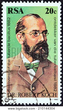SOUTH AFRICA - CIRCA 1982: A stamp printed in South Africa issued for the 100th anniversary of the discovery of Tubercle Bacillus shows Dr. Robert Koch, circa 1982.