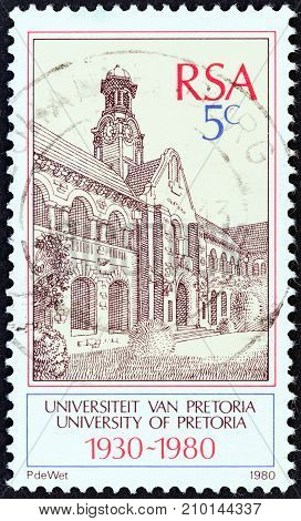 SOUTH AFRICA - CIRCA 1980: A stamp printed in South Africa issued for the 50th anniversary of University of Pretoria shows University of Pretoria, circa 1980.