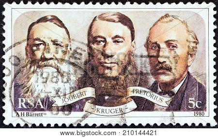 SOUTH AFRICA - CIRCA 1980: A stamp printed in South Africa issued for the Centenary of Paardekraal Monument shows Joubert, Kruger and Pretorius (Triumvirate Government), circa 1980.