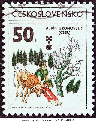 CZECHOSLOVAKIA - CIRCA 1981: A stamp printed in Czechoslovakia issued for the Biennial Exhibition of Book Illustrations for Children, Bratislava shows Illustration by Albin Brunovsky, circa 1981.
