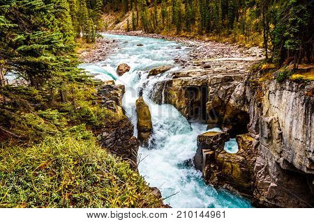 The turbulent waters of the Sunwapta River as it tumbles down Sunwapta Falls in Jasper National Park in the Canadian Rocky Mountains