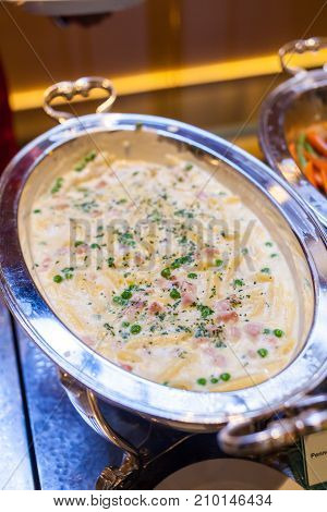 Penne Carbonara Source with Ham Pea Thai Fusion on Buffet Tray