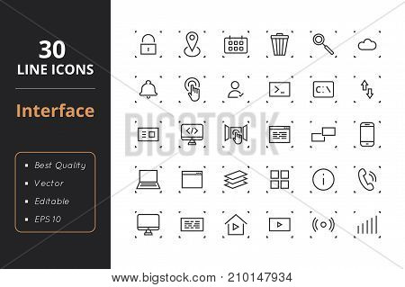 High quality set interface line icons. Icons for user interfaces and web