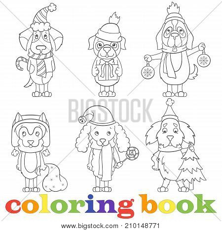 Contour set of illustrations with funny cartoon dogs on the topic of new year and Christmas book coloringa dark outline on a light background