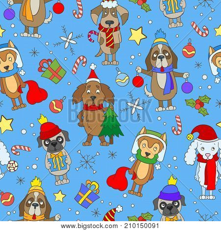 Seamless pattern on the theme of new year and Christmas funny cartoon dog on blue background
