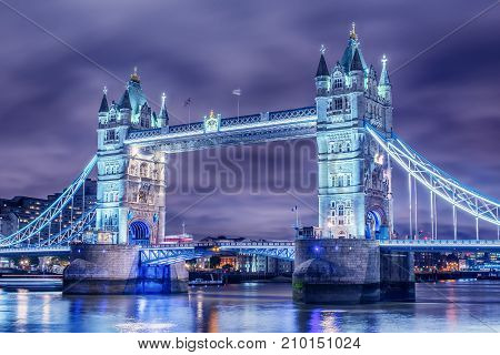 London, the United Kingdom: Tower Bridge on River Thames at night