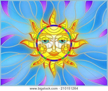 Illustration in stained glass style with fabulous sun with the face on the background of sky