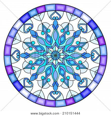 Illustration in stained glass style with snowflake in blue colors in a frame round image