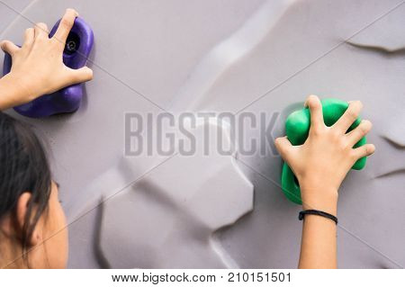 Hands on the climbing simulator. Children can participate in activities for fun. Or as one sport cultivate make efforts. Target Against Obstacles And fun. poster