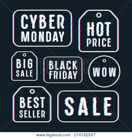 Set of sale discount tags labels emblems. Design with glitch distortion effect. Print on black background