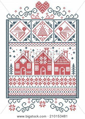 Elegant Christmas Scandinavian, Nordic style winter stitching, pattern including snowflake, heart,  Swedish style gingerbread house, Christmas tree, gift, snow, robin, snowflake, star in red, blue