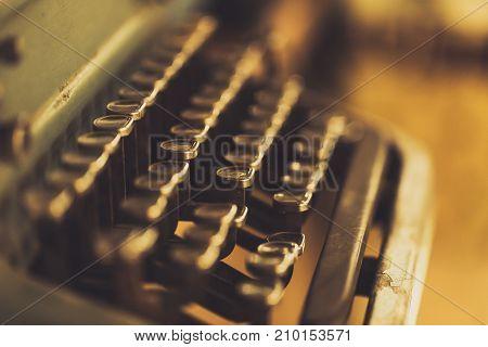 Closeup Old Type Writer Key Pad Vintage Color Tone