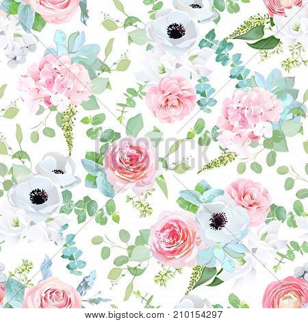 Delicate pink rose, camellia, anemone, hydrangea, blue succulents, peony, white freesia, silverberry, mint eucalyptus pattern on white. Seamless vector print. Fantasy wedding mix of flowers and plants