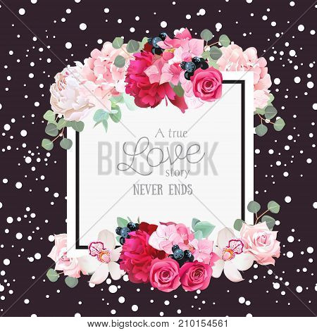 Fashion vector design square card with white confetti background. White and burgundy red peony, pink roses and hydrangea flowers, orchid, eucalyptus leaves. All elements are isolated and editable.
