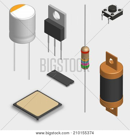 Set of different active and passive electronic components isolated on white background. Resistor capacitor diode microcircuit fuse and button. 3D isometric style vector illustration.