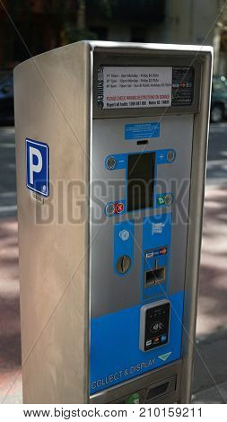 Sydney Australia - October 17 2017: Close-up of parking pay and display ticket machine paying by card or cash on Albion street property of City of Sydney council