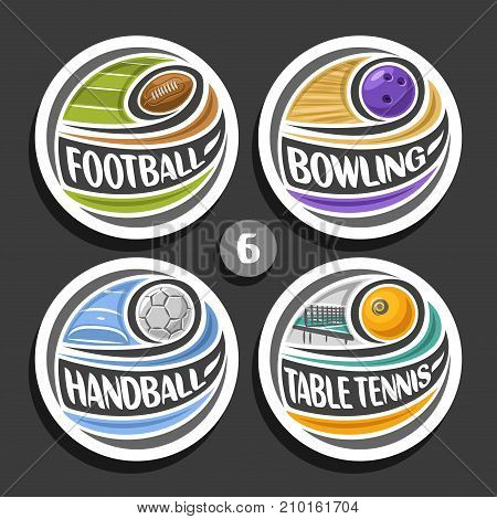 Vector set of sport logo, 4 round simple badges with flying ball on curved trajectory, circle sports signs of minimal design with games equipment, original type for words of different kind of sport.
