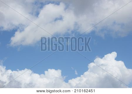 blue sky with white dark cloud close up