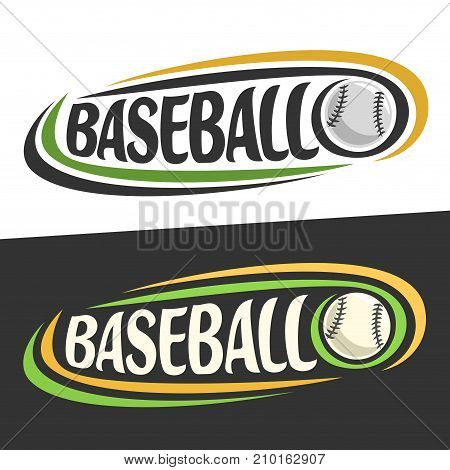 Vector logo for Baseball sport, flying on trajectory ball and handwritten word - baseball on black, curved lines around creative typography for text - baseball on white background, sports decoration.