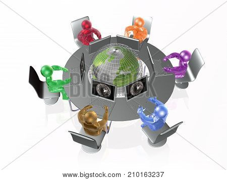 Color mans and globe on the white background 3D illustration.