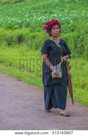 SHAN STATE MYANMAR - SEP 06: Portrait of a Burmese farmer in Shan state Myanmar on September 06 2017 agriculture is the main industry in Myanmar